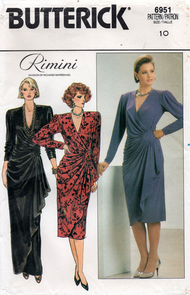 Butterick 6951 RIMINI Womens Side Draped Dress 1980s Vintage Sewing Pattern Size 10 UNCUT Factory Folded