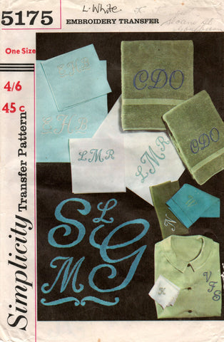 simplicity 5175 60s embroidery transfers