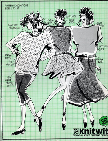 Knitwit 3000 Womens Stretch Knit Tops 1980s Vintage Sewing Pattern Sizes 6 - 22 UNCUT Factory Folded