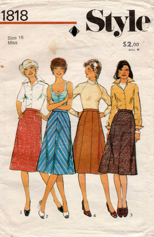 Style 1818 Womens Gored Skirts 1980s Vintage Sewing Pattern Size 18 Waist 32 inches