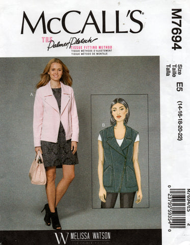 McCall's M7694 Palmer Pletsch Womens Zip Front Jacket & Vest Sewing Pattern Size 14 - 22 UNCUT Factory Folded