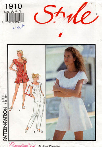 Style 1910 Womens Jumpsuit & Rompers 1990s Vintage Sewing Pattern Size 6 - 18 UNCUT Factory Folded