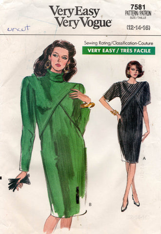 Vogue 7581 Womens Dress with Front Overlay 1980s Vintage Sewing Pattern Size 12 - 16 UNCUT Factory Folded