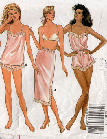 Butterick 5740 Womens Lingerie with Slips Petticoat Teddy Tap Panties & Camisole 1980s Vintage Sewing Pattern Size 12 - 16