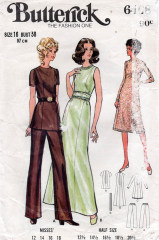 butterick 6408 70s dress top pants