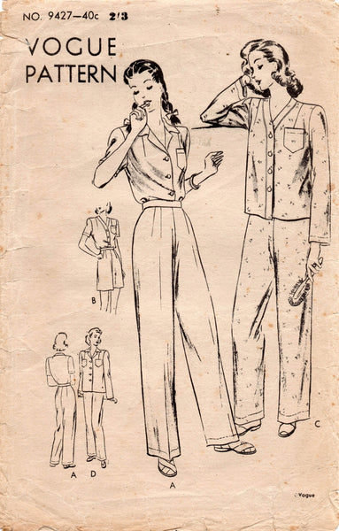 vogue 9427 1940s pajamas