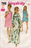 Simplicity 7910 Womens Nightgown & Bloomers 1960s Vintage Sewing Pattern Size SMALL