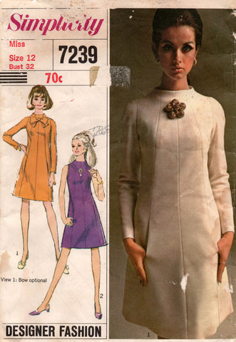 simplicity 7239 60s funnel neck dress