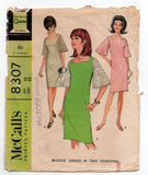 McCall's 8307 Bell Sleeved Dress 1960s Vintage Sewing Pattern Size 12 Bust 32 inches