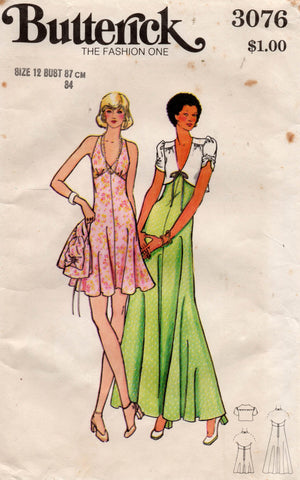 butterick 3076 70s maxi dress and jacket