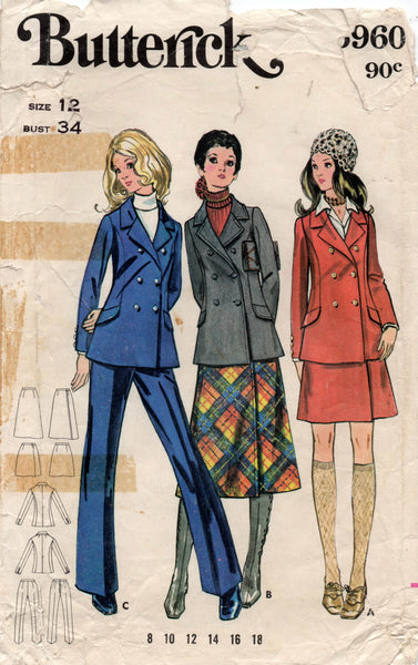 Butterick 5960 Womens Double Breasted Jacket Wrap Skirt & Pants 1960s Vintage Sewing Pattern Size 12 Bust 34 inches