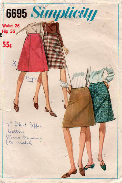 Simplicity 6695 Womens A Line Skirts 1960s Vintage Sewing Pattern Waist 26 inches