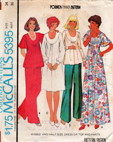 McCall's 5395 70s dress top pants