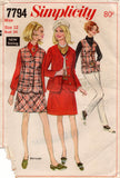 Simplicity 7794 Womens Skirt Mini Skirt Jacket & Vest 1960s Vintage Sewing Pattern Size 12 Bust 34 inches