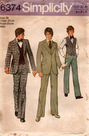 Simplicity 6374 Mens Retro 3 Piece Suit 1970s Vintage Sewing Pattern Size 38 UNCUT Factory Folded