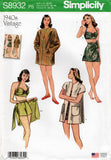 Simplicity S8932 Womens 1940s Repro Bikini Top Shorts Wrap Skirt & Beach Coat Sewing Pattern Size 4 - 12 or 12 - 20 UNCUT Factory Folded