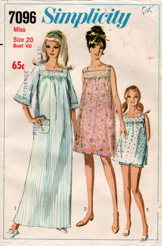 Simplicity 7096 Womens Nightgown & Bloomers 1960s Vintage Sewing Pattern Size 20 Bust 40 Inches