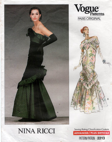 vogue 2213 nina ricci 80s dress