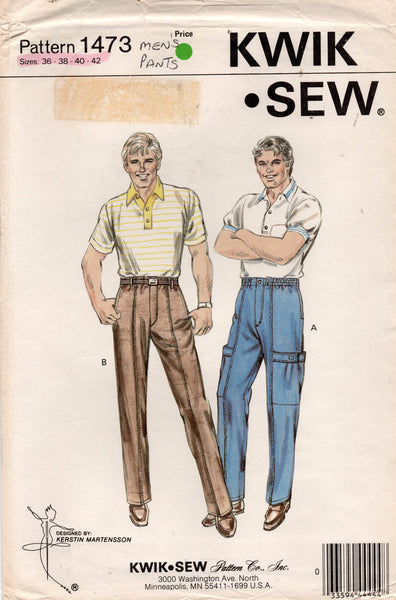 Kwik Sew 1473 Retro Mens Elastic Waist Pants or Cargo Pants 1980s Vintage Sewing Pattern Waist 36 - 42 Inches UNCUT Factory Folds