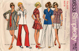 Simplicity 9833 Young Junior Teens Sailor Dress or Tunic Bell Bottoms & Mini Skirt 1970s Vintage Sewing Pattern Size 11/12 Bust 32 inches