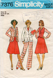 Simplicity 7376 Womens Jacket Vest Skirt & Pants 1970s Vintage Sewing Pattern Size 12 or 16