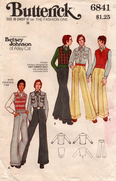 butterick 6841 70s betsey johnson menswear