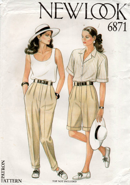 New Look 6871 Womens Pleated Pants & Shorts 1980s Vintage Sewing Pattern Size 8 - 18 UNCUT Factory Folds