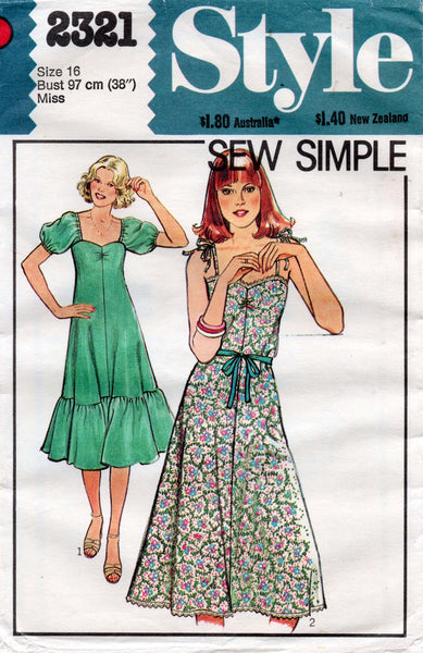 Style 2321 Womens Ruched Bodice Dress 1970s Vintage Sewing Pattern Size 16 UNCUT Factory Folded