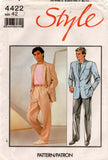 Style 4422 Mens Jacket & Pants Suit 1980s Vintage Sewing Pattern Chest 38 or 42 inches UNCUT Factory Folded