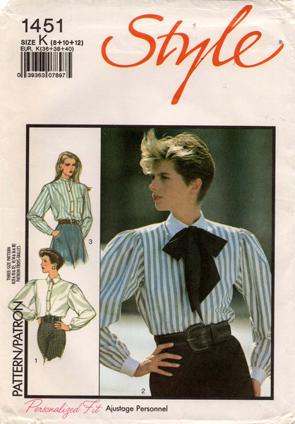 Style 1451 Womens Big Sleeved Blouse with Neck Tie 1980s Vintage Sewing Pattern Size 8 - 12 UNCUT Factory Folded