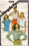 Simplicity 6358 Womens Gathered Shoulder Blouses 1980s Vintage Sewing Pattern Size 14 UNCUT Factory Folded