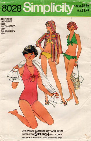 simplicity 8028 70s bikini swimsuit cover up