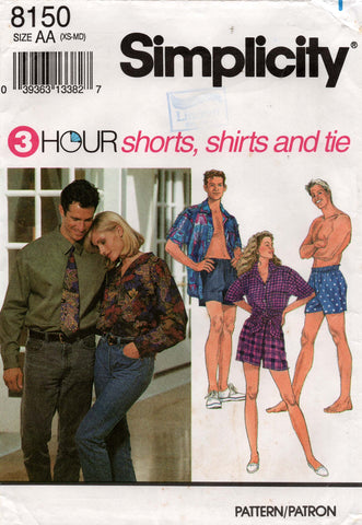 Simplicity 8150 UNISEX Boxer Shorts Shirt & Tie 1990s Vintage Sewing Pattern Sizes XS - M UNCUT Factory Folds