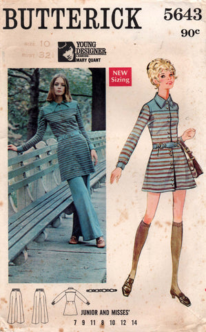 butterick 5643 mary quant 60s dress and pants