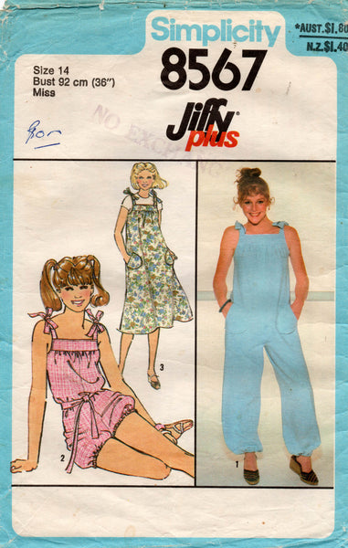 Simplicity 8567 Womens EASY Tent Dress / Pinafore & Puffy Leg Jumpsuit 1970s Vintage Sewing Pattern Size 14 Bust 36 inches