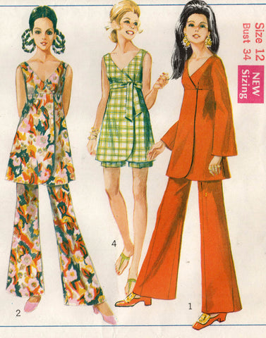 Simplicity 8149 Womens High Waisted Wrap Dress Tunic Pants & Shorts 1960s Vintage Sewing Pattern Size 12 Bust 34 inches