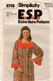 Simplicity 8752 Womens Maxi Caftan with Contrast Trim & Pockets 1970s Vintage Sewing Pattern Size 10 - 14
