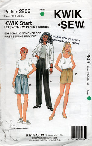 kwik sew 2806 easy 90s pants shorts