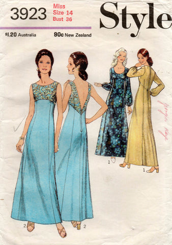 Style 3923 Womens Empire Waisted Evening Gown 1970s Vintage Sewing Pattern Size 14