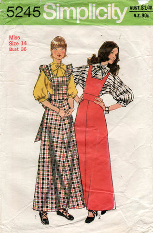 Simplicity 5245 Womens Maxi Jumper Dress & Puff Sleeved Blouse 1970s Vintage Sewing Pattern Size 14 Bust 36 inches