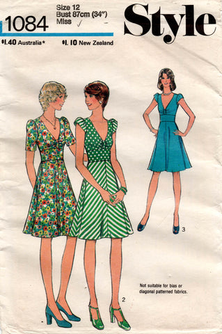 Style 1084 Womens Midriff Band Summer Dress 1970s Vintage Sewing Pattern Size 12 UNCUT Factory Folded
