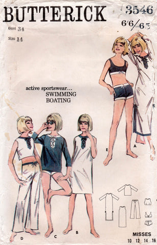 Butterick 3546 Womens Retro Bikini & Beach Dress Blouse Pants 1960s Vintage Sewing Pattern Size 14 Bust 34 Inches UNUSED Factory Folded