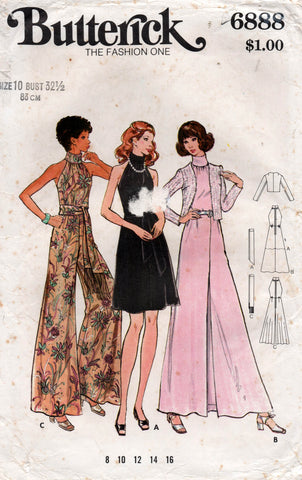 butterick 6888 70s jumpsuit dress sash jacket