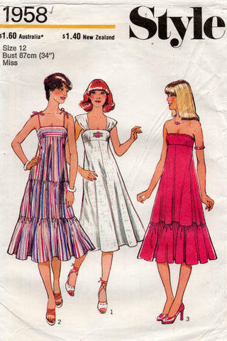 Style 1958 Womens Tiered or Strapless Tent Dress 1970s Vintage Sewing Pattern Size 12