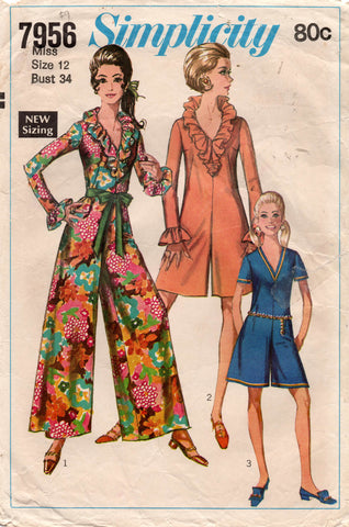 Simplicity 8198 Womens MOD Jumpsuit & Rompers 1960s Vintage Sewing Pattern Size 12 Bust 34 Inches