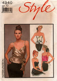 Style 4940 Womens Evening Tops - Wrap Camisole Peplum or Corset 1980s Vintage Sewing Pattern Size 10 or 12 UNCUT Factory Folded