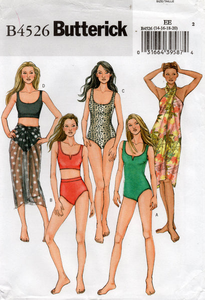 Butterick B4526 Womens Swimsuits & Sarong Wrap Sewing Pattern Sizes 14 - 20 UNCUT Factory Folds
