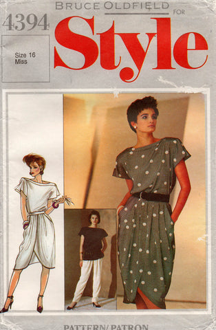 Style 4394 Womens BRUCE OLDFIELD Short Sleeved Top Pleated Wrap Skirt & Pants 1980s Vintage Sewing Pattern 16 UNCUT Factory Folded