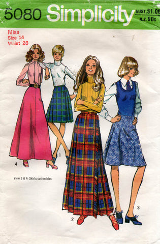 Simplicity 5080 Womens Bias Pleated Wrap or Maxi Skirts 1970s Vintage Sewing Pattern Size 14 Waist 28 Inches