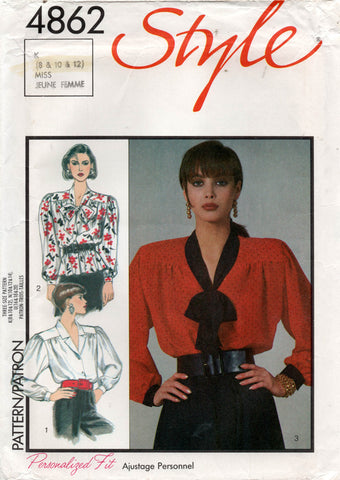 Style 4862 Womens  Gathered Blouses 1980s Vintage Sewing Pattern 8 - 12 UNCUT Factory Folded